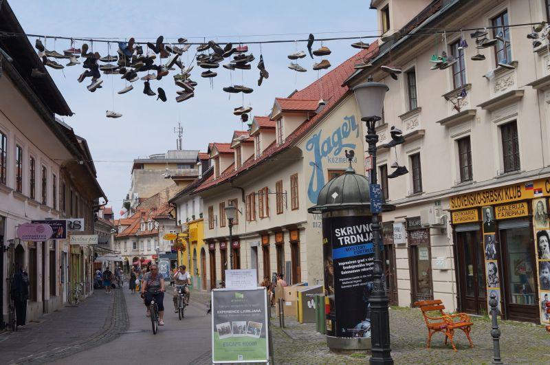 Przy ulicy Trubarjeva cesta znajduje się słynny antykwariat - Slovensko-Srbski Klub