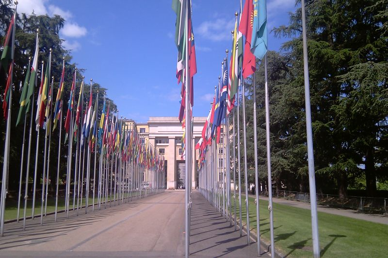 Flagi państwa przed siedzibą Organizacji Narodów Zjednoczonych