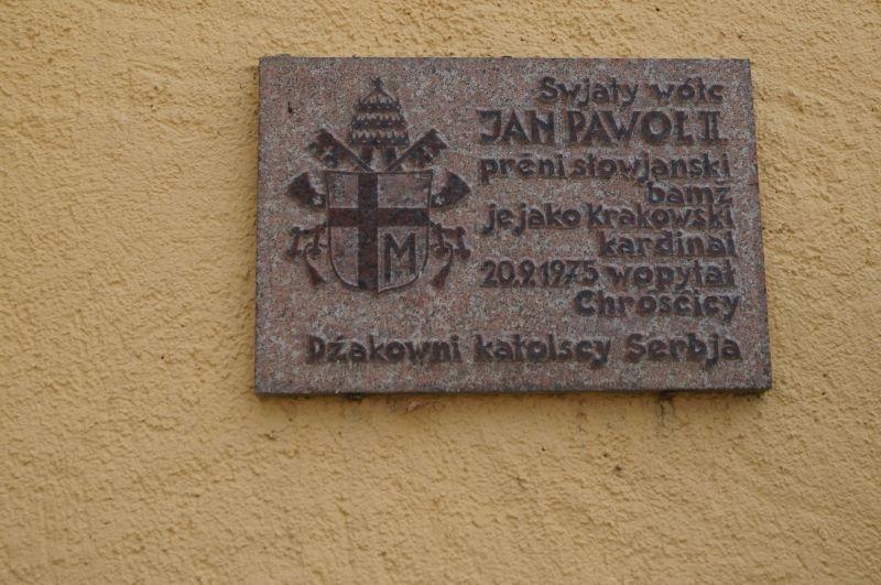 Tablica pamiątkowa na kościele w Chróścicy (niem. Crostwitz)