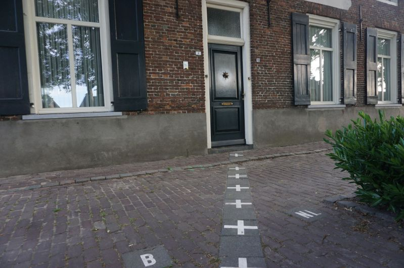 Granica wytyczona przezśrodek głównych drzwi wejściowych dodomu