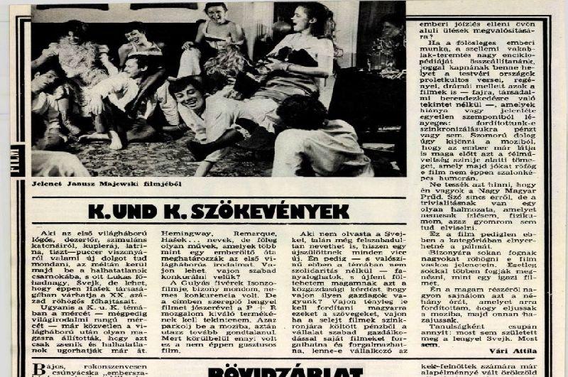 """Informacja ofilmie """"CK Dezerterzy"""" wwęgierskiej gazecie Film Szinhaz Muzsika z1988 roku"""