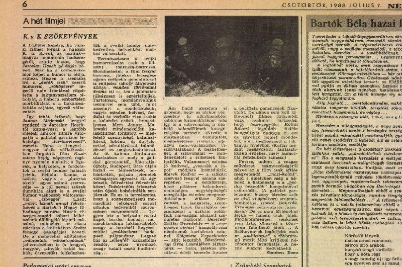 """Informacja ofilmie """"CK Dezerterzy"""" wwęgierskiej gazecie Nepszawa z7 lipca 1988 roku"""