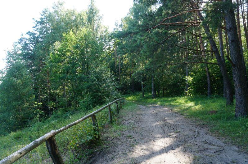 Piaszczysty odcinek trasy zpromu wWierzbie natrasie Pętli Bełdany